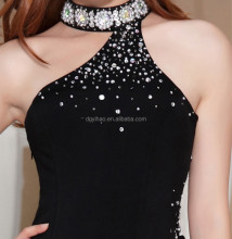 2016 Arrival Sleeveless Beaded Wholesale Sexy Free Form Dress Split Sexy Black Prom Dresses Long bandage Chiffon Evening Dress