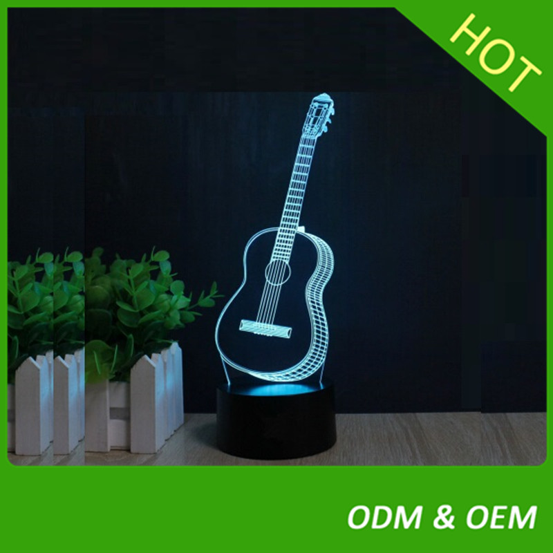 Bar Musical Instruments 3D Guitar LED Night light 7 Color Touch Desk Lamp