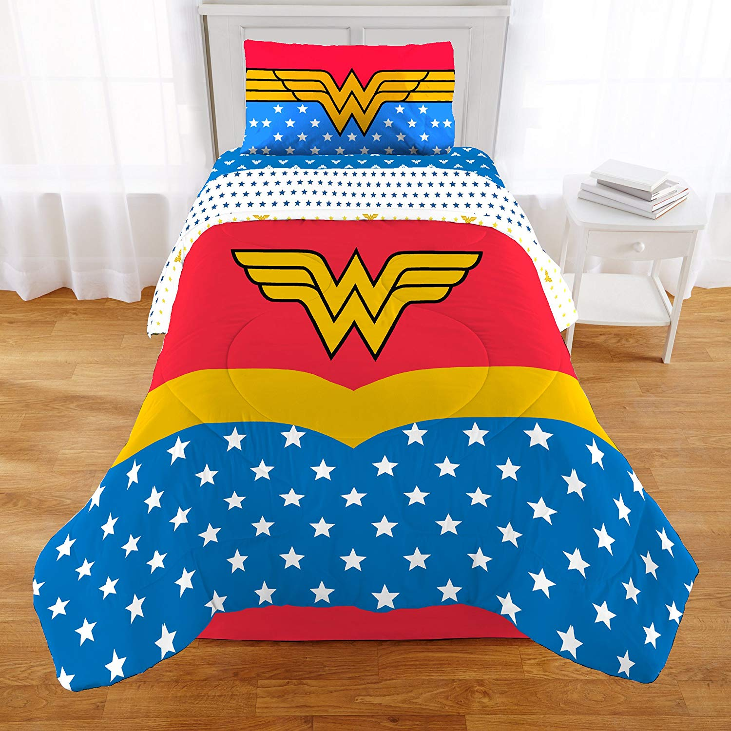 45138b734a Get Quotations · TN 2 Piece Kids Girls Blue Red Wonder Woman Comforter Twin Full  Set