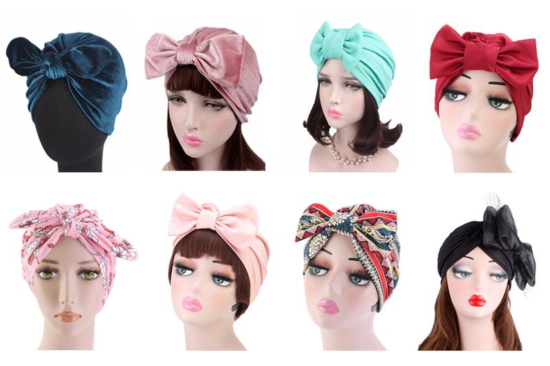 Women Rabbit Ear Style Soft Velvet Turban Hat Headband Bow Cap Head Wrap TJM-294