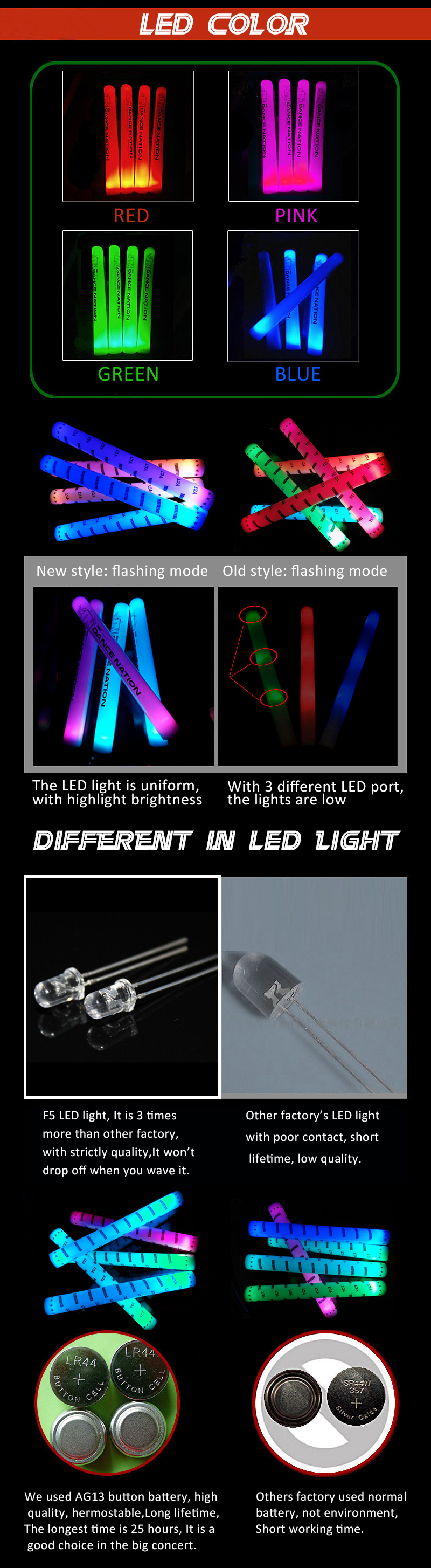 NEW Custom Party Decoration Wholesale LED Light Stick Colorful  Assorted LED Foam Stick with Logo LED Foam Baton