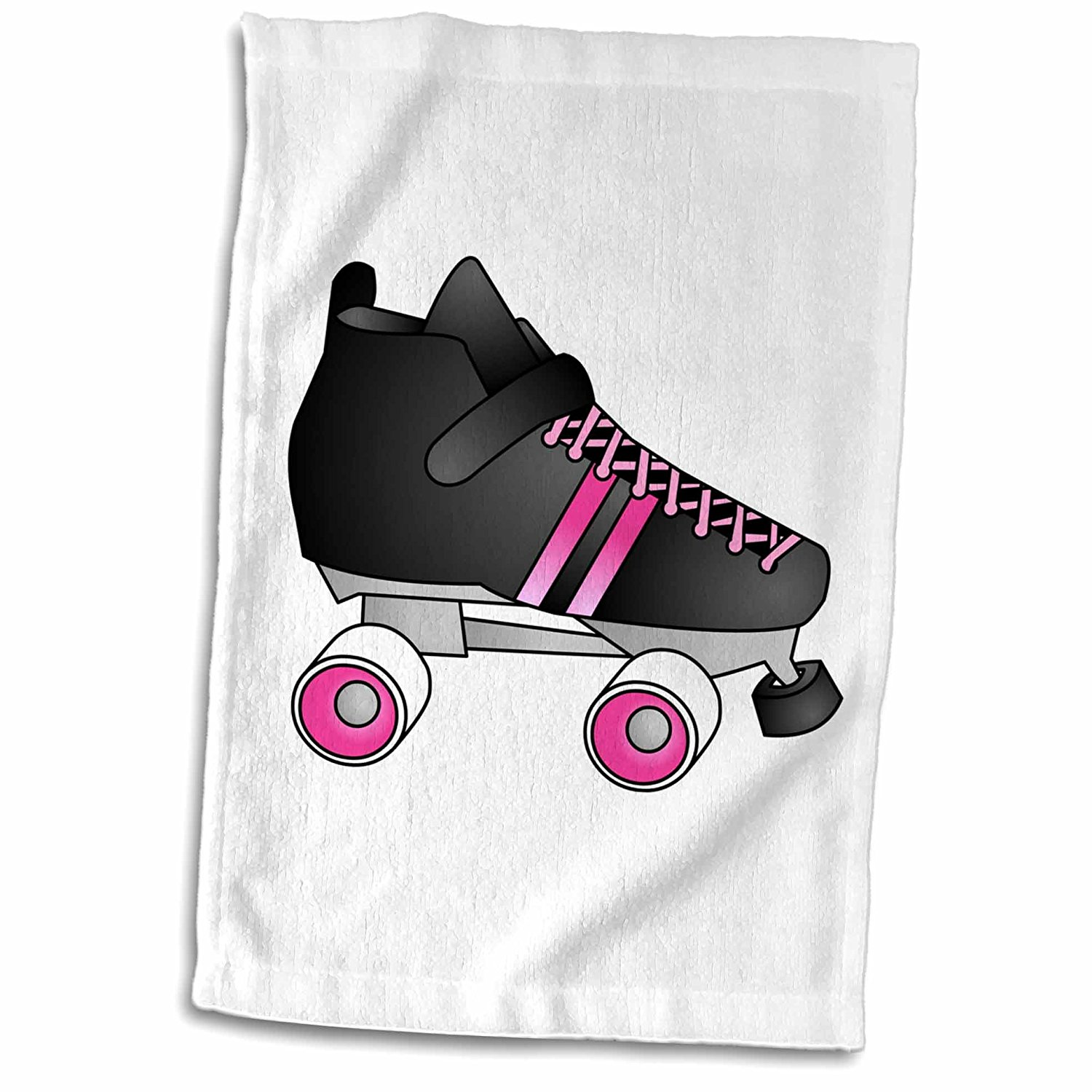 3dRose Janna Salak Designs Roller Derby - Skating Gifts - Black and Pink Roller Skate - 12x18 Towel (twl_35463_1)