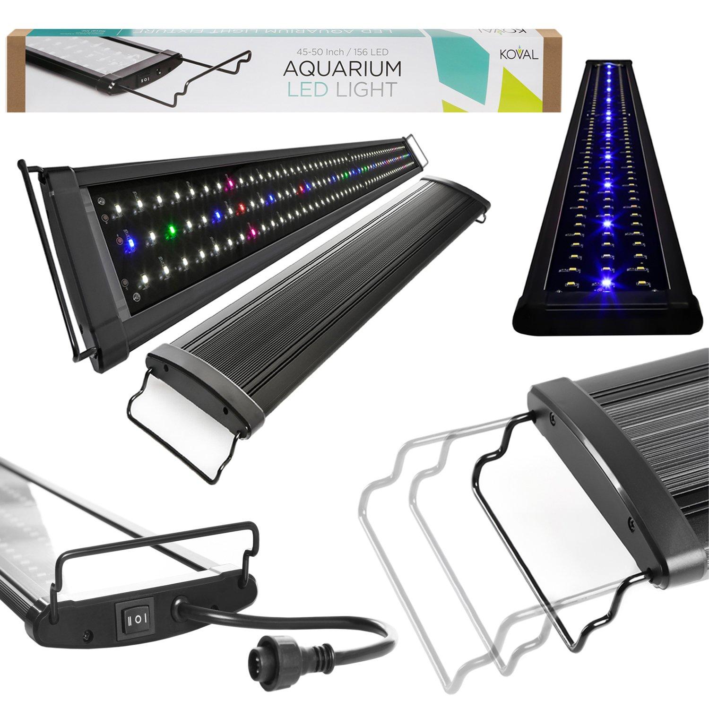 Koval Inc. Aquarium Lighting Fish Tank Light Hood with Extendable Brackets, White and Blue LEDs