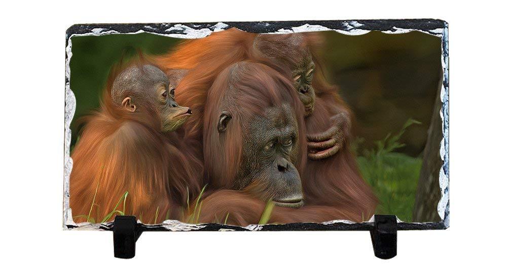 DKLZY Personalized Gifts Personalized Slate Desktop Decoration Plaque - Orangutan and Her Babies Custom Photo Slate