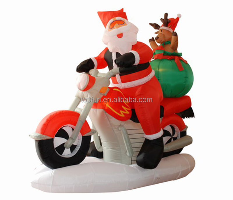 Promotion air blown cheap top quality inflatable santa man with deer in motor bicycle