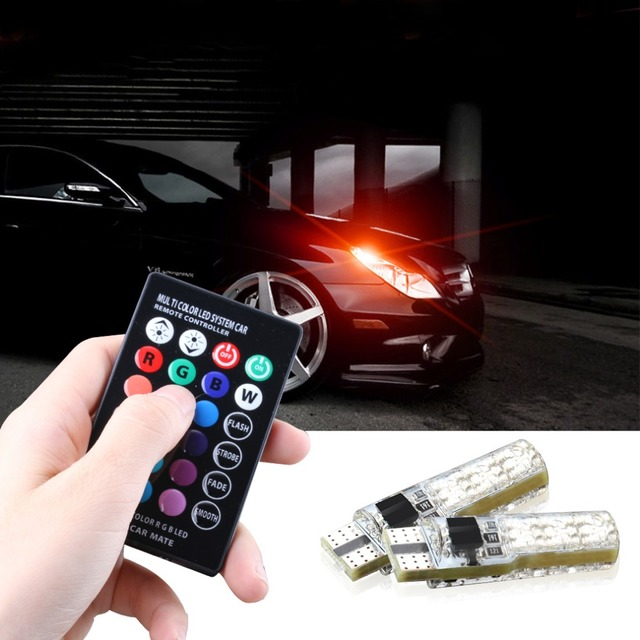 12V Pack of 4 Yolu 194 T10 LED lights W5W RGB LED Bulbs with Remote Controller RGBW 501 194 168 6SMD 5050 Silicone Strobe lights Car Wedge Side Light