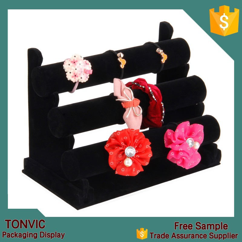 High quality velvet bracelet watch display T bars stand holder 3 tiers jewelry display
