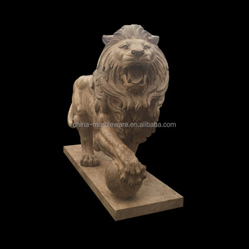Outdoor Animal Garden Decorative Marble Stone Lion Statue For Sale