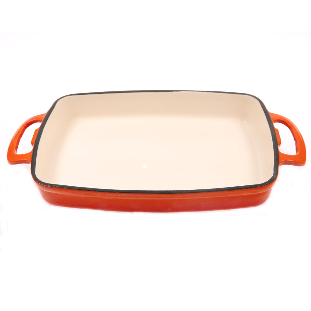 8-10inch 20-26cm enamel spice red cast iron rectangular roasting pan baking pan