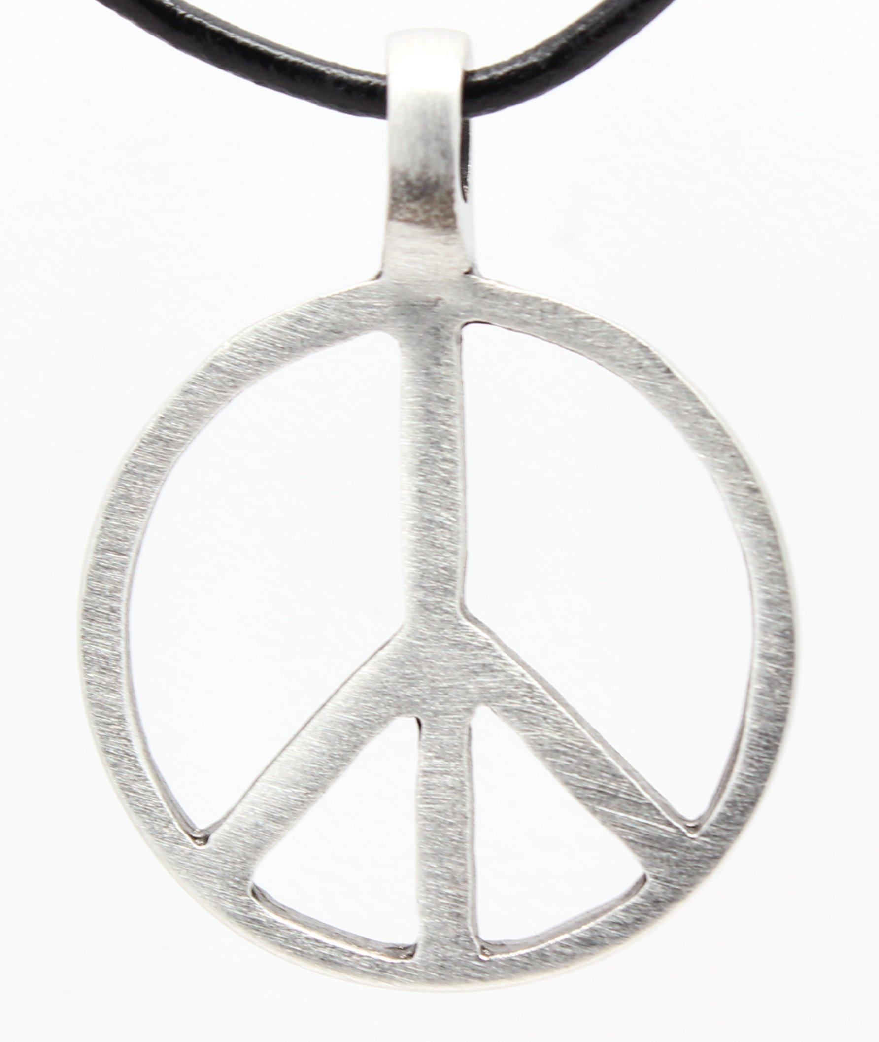 Pewter Classic Peace Sign Love Hippie Pendant on Leather Necklace