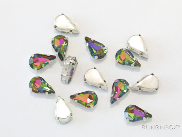 High standard quality colorful silver back point back glass sew on claw rhinestone for DIY things