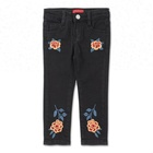 Royal wolf denim garment factory stretch custom floral embroidered design kids black jeans photos