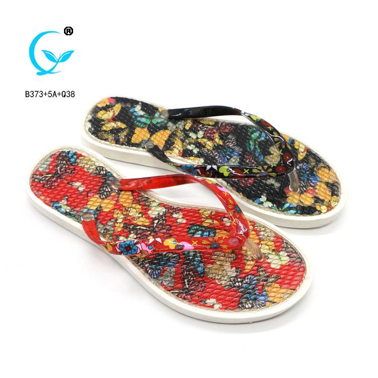 Wholrsale print nice women pe rubber flip flops slippers portugal