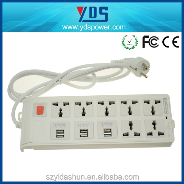 EU/US/UK/AU plug china manufacturer usb power strip power 7 outlet extension socket