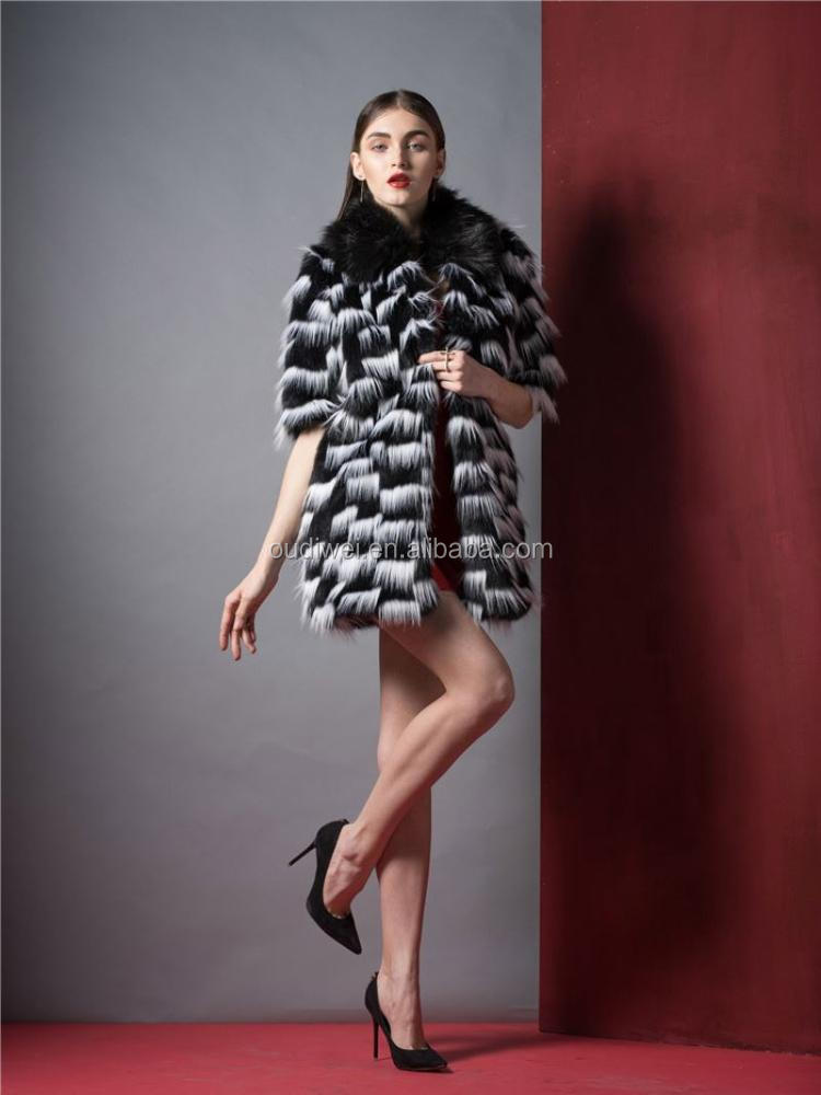 Modern style excellent quality long fur coat fashion with good prices