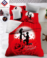 Romantic happy valentine's day design printed polyester duvet cover and sheets bedding sets for wholesale