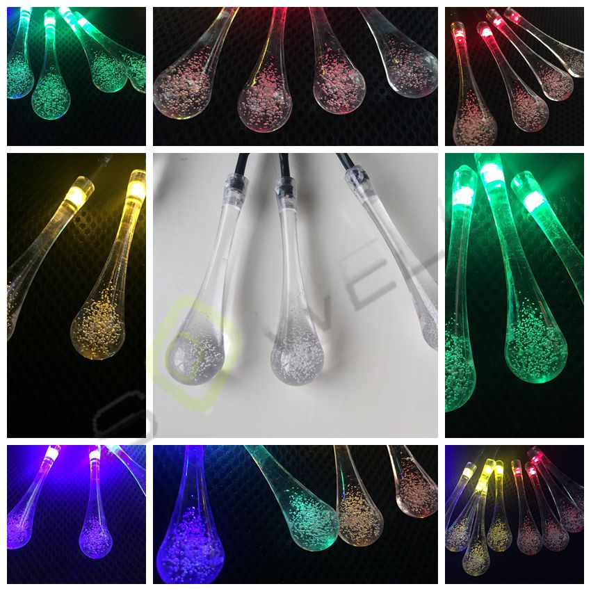 Outdoor Solar powered waterdrop shape IP68 Waterproof led string light