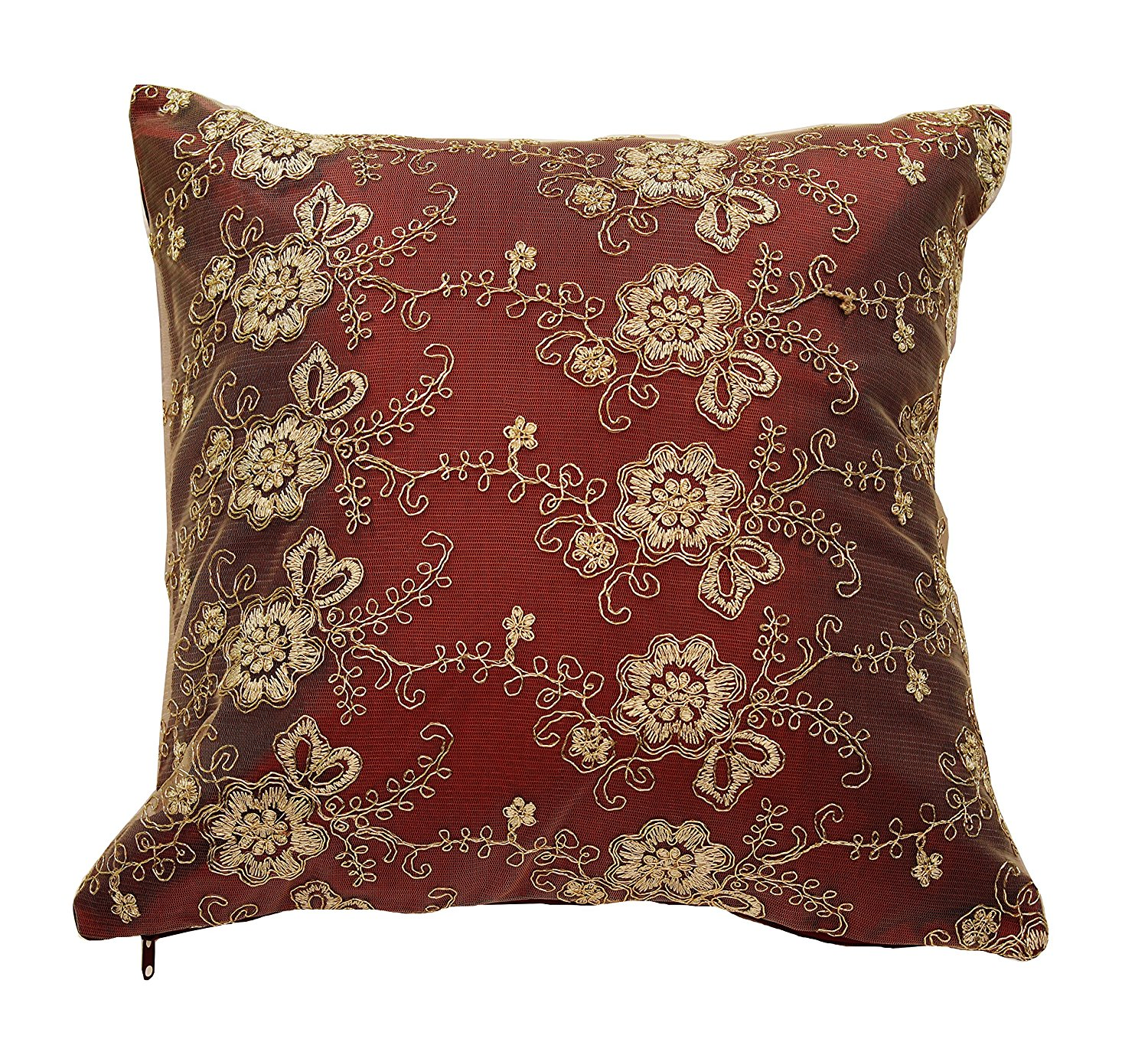 """Swiss Embroidered Flowers Vintage Design 18"""" X 18"""" Cushion Cover - In Burgundy"""