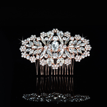 AT Stock Rhinestone Crystal Hair Comb Bridal Hairpiece Rose Gold Hair Comb