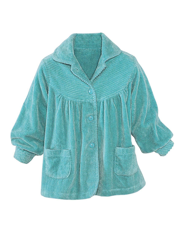 Bath /& Robes Satin Tie Up Chenille Bed Jacket Soft Luxury