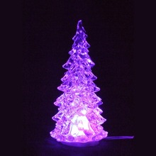 High quality mini color changing crystal USB LED Flashing plastic christmas tree for Xmas decoration