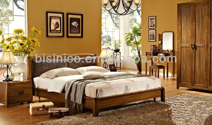 Slaapkamer Massief Hout : Morden hout slaapkamer set meubilair volledige massief houten bed w