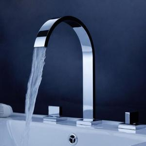 guangzhou sanitary ware bathroom vessel sink 3 holes double handle basin mixer faucet waterfall