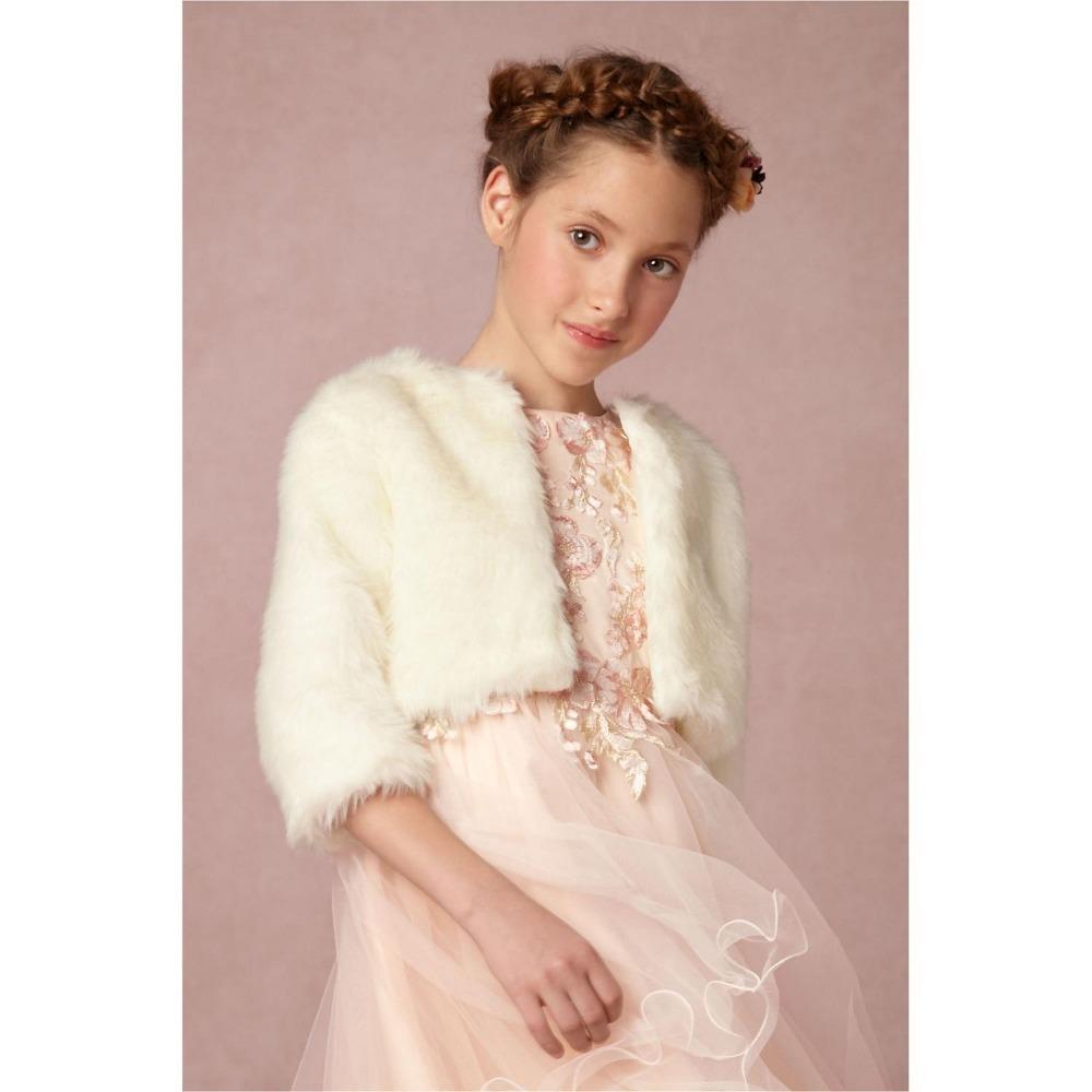 Chaqueta de lana marfil mantón para las muchachas de flor vestido de ...