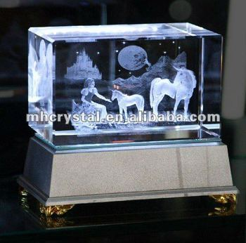 3d Laser Crystal Glass Cube With Led Base Mh F0163 Buy