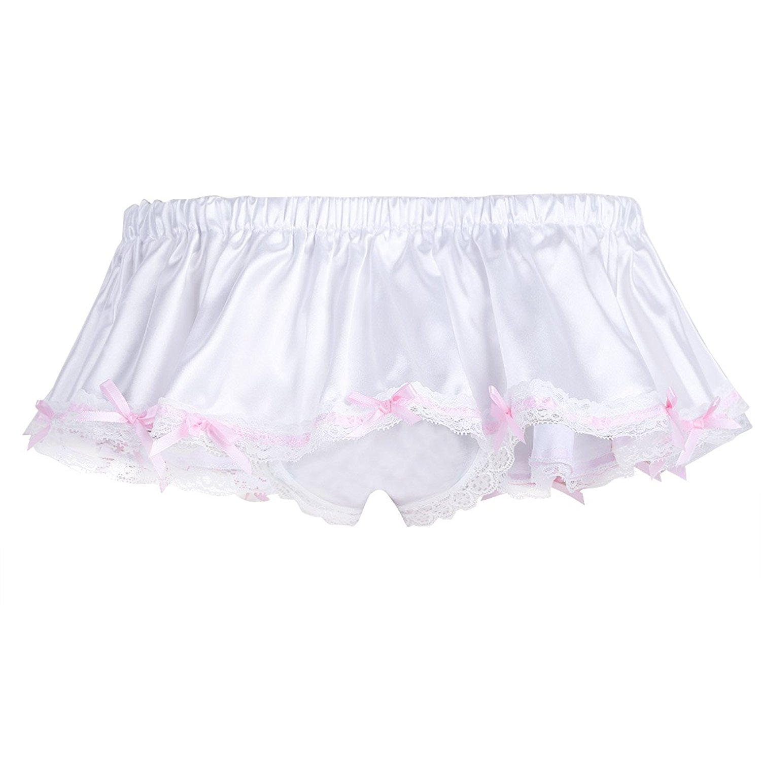 dc624630c478 Get Quotations · MSemis Men's Sissy Skirted Panties Satin Frilly Lace Briefs  Thongs Underwear Crossdress
