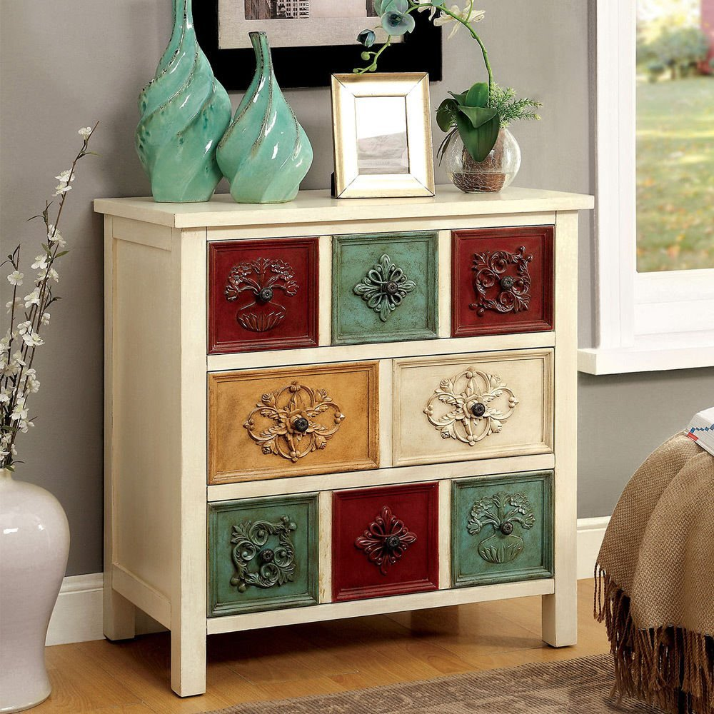 1PerfectChoice Sheba Hallway Entryway Console Cabinet Stand Multi Colored  Drawers Antique White