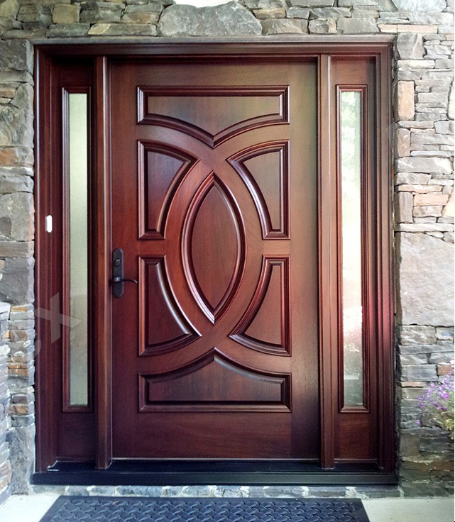 Mahogany front door double door solid wood entry door with for Mahogany door skin