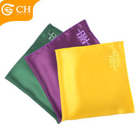 Colorful Plain Design Embroidered Silk Handkerchief