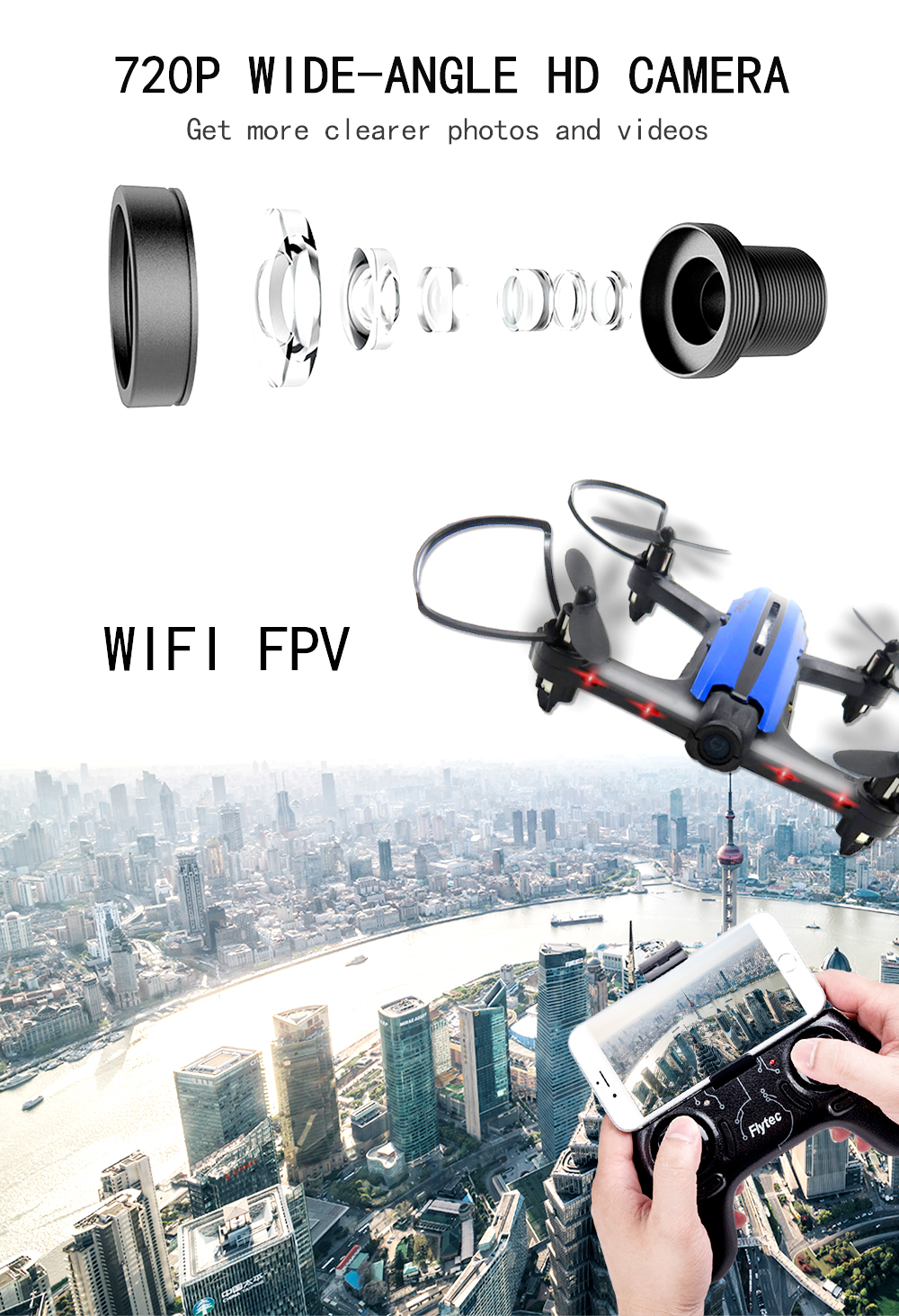 (Ship from you )Newest Flytec T18D RC Quadcopter with HD camera Mini Micro WIFI FPV Racing Drone