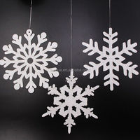 Christmas hanging decoration silver glitter paper snowflake