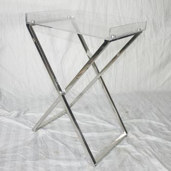 Acrylic Tray Table Stainless Steel Leg Folding Coffee