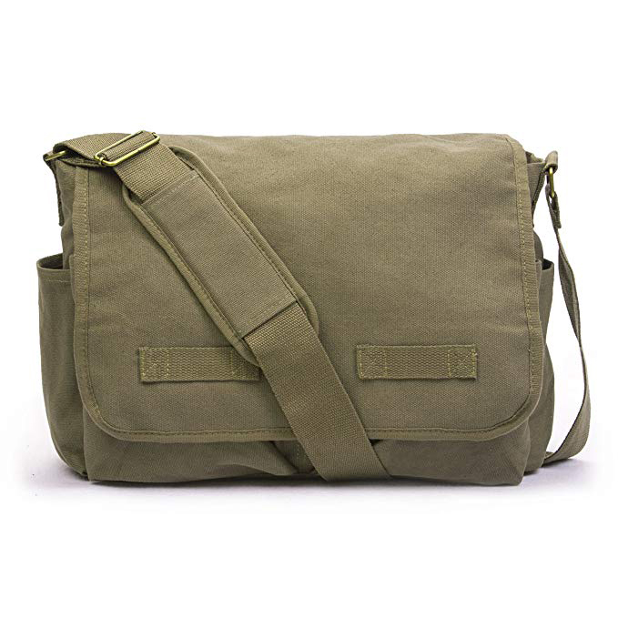Plain Casual Canvas Tablet Messenger satchel bag with customized logo