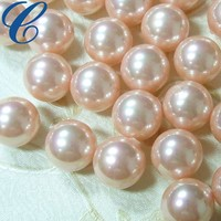 Pink Synthetic Loose Pearls Type plastic glass shell round loose pearls for jewelry necklace making