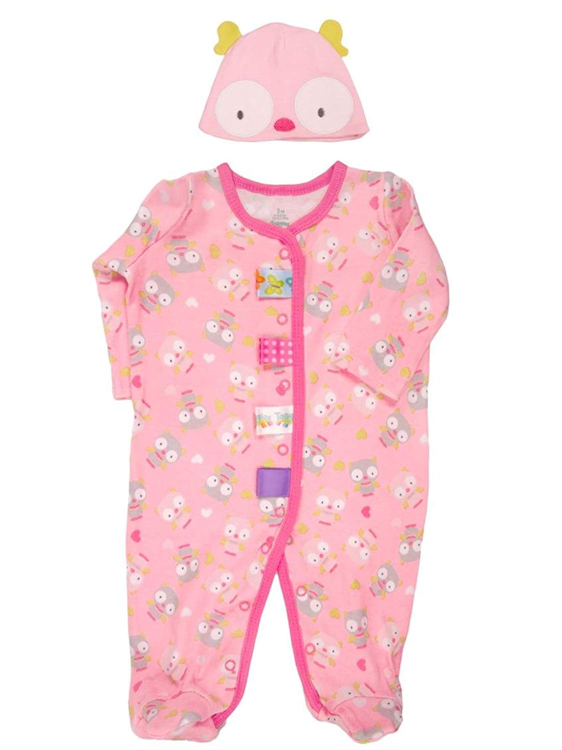 b6c7c060be Get Quotations · Taggies Baby Girl s Owl Sleep N Play Footie and Hat Set by  Taggies