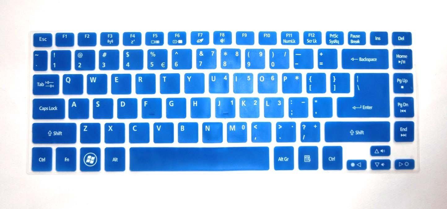 "BingoBuy Semi-Blue Silicone Keyboard Protector Skin Cover for ACER Aspire E1-472, E1-472G, E1-472P, E1-470P, E14, E5-411, E5-471G, ES1-511, R7-571, R7-571G, R7-572, V3-472P, 4830, 4830T, AS4830T, 3830, 3830T, AS3830T series (if your ""enter"" key looks like ""7"", our skin can't fit) with BingoBuy Card"