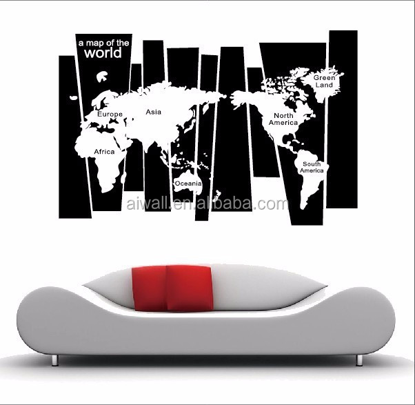 8120 world map 3d wall stickers high quality world map wall sticker decal printing