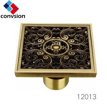 square garage and bathroom tile insert brass shower floor drain