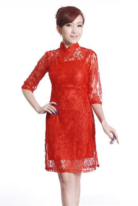 b9adf8708 Get Quotations · 2015 New Arrival long Sleeve chinese traditional dress  Women cheongsam Qipao Red Lace Cheongsam Dress wedding