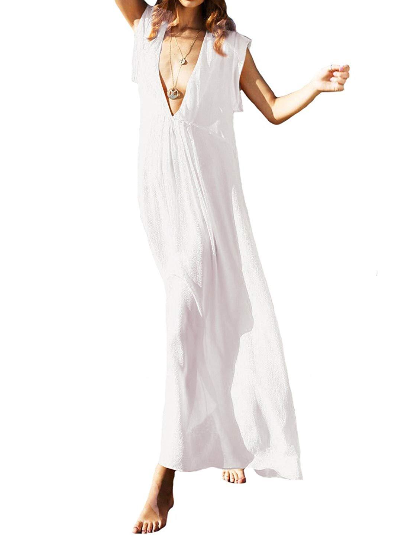 acdaddbced453 Bestyou Women's Solid Color Long Maxi Dress Sheer Chiffon Bathing Suit  Cover up Swimwear Beachwear