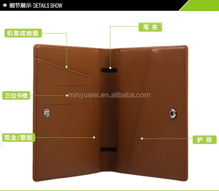 wholesale Custom tan Leather Multi-functional passport holder with a pen holder and button snap closure