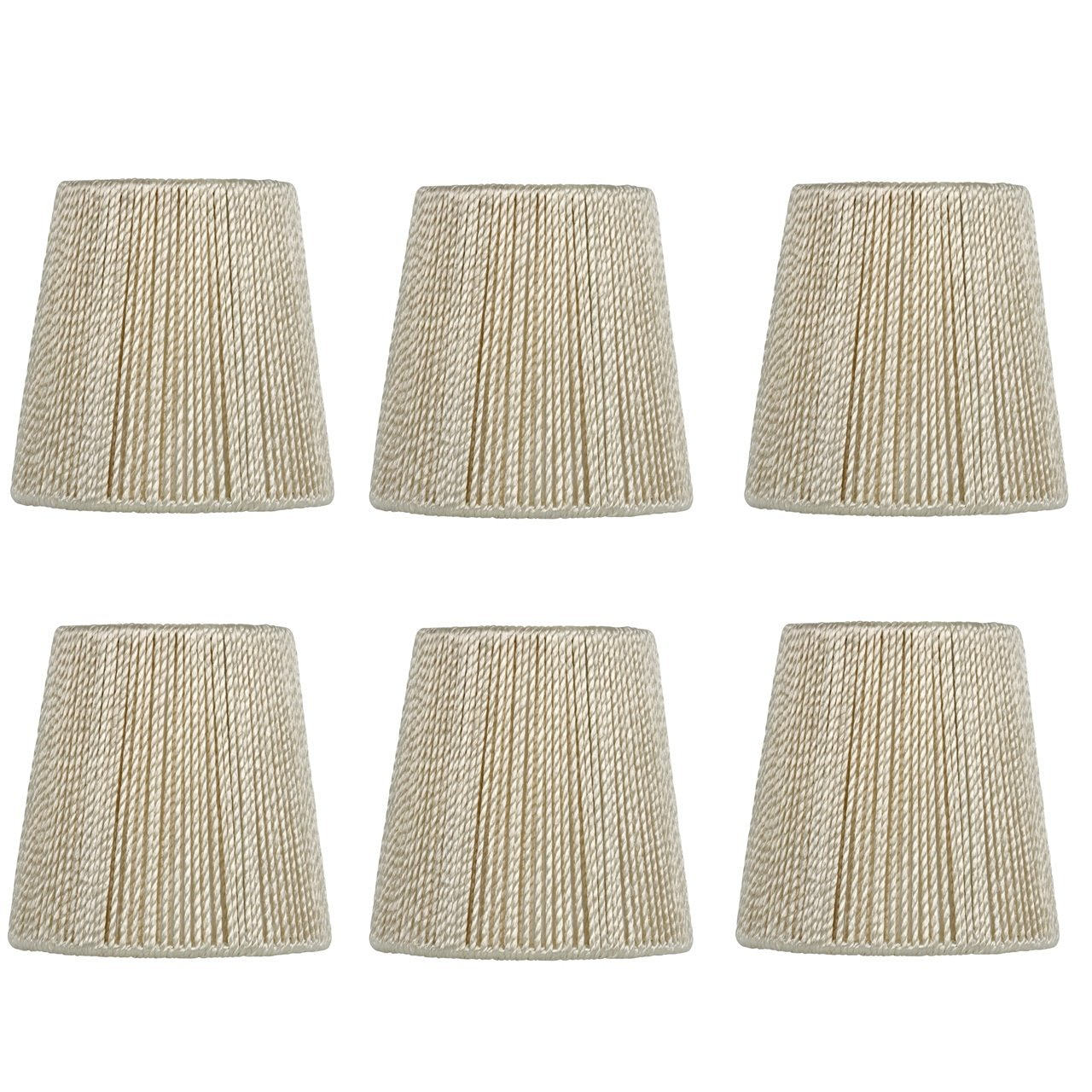 Upgradelights 4 Inch Hand Strung Retro Drum Clip On Chandelier Lamp Shades (Set of six) 3x4x4