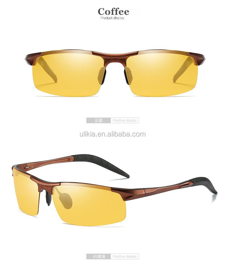 Pria Al-MG Frame Malam Visi Mengemudi Kacamata Terpolarisasi Kacamata Hitam  untuk Pria Kuning Lensa 091eee091e