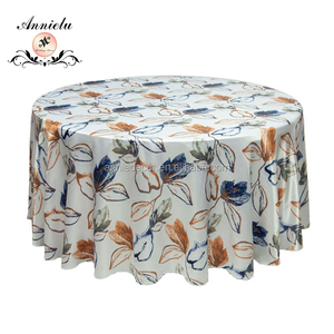AL-TC020 Fancy colorful printed tablecloth round table cloths 100 polyester silky satin