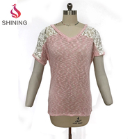 50% RAYON 50% Polyester pink girl lady woman Burnout t shirt shoulder with lace trim poenwork t shirt burnout style