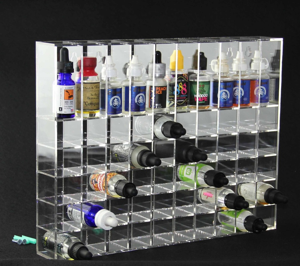 Transparent wall acrylic display rack for 30ml e-juice e liquid bottles